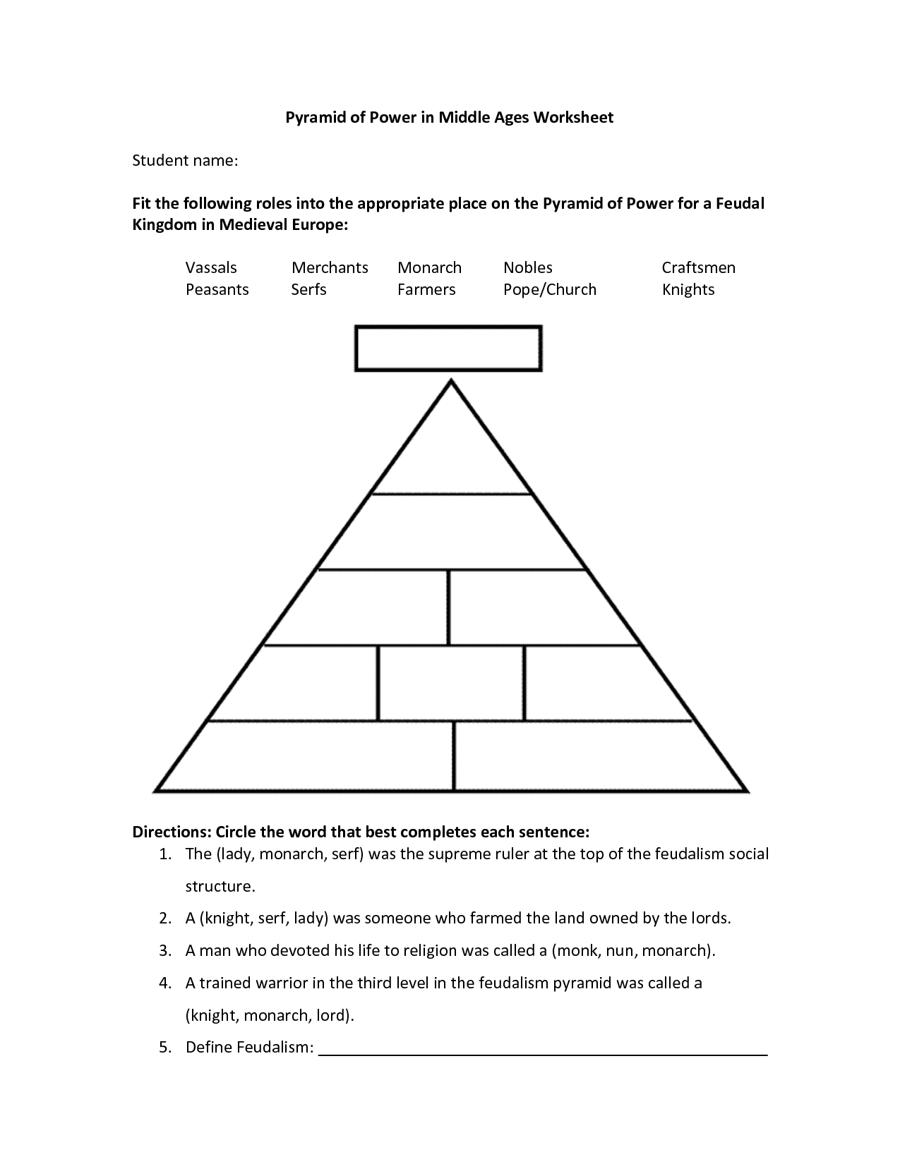 Medievalworksheets Pyramid Of Power In Middle Ages Worksheet