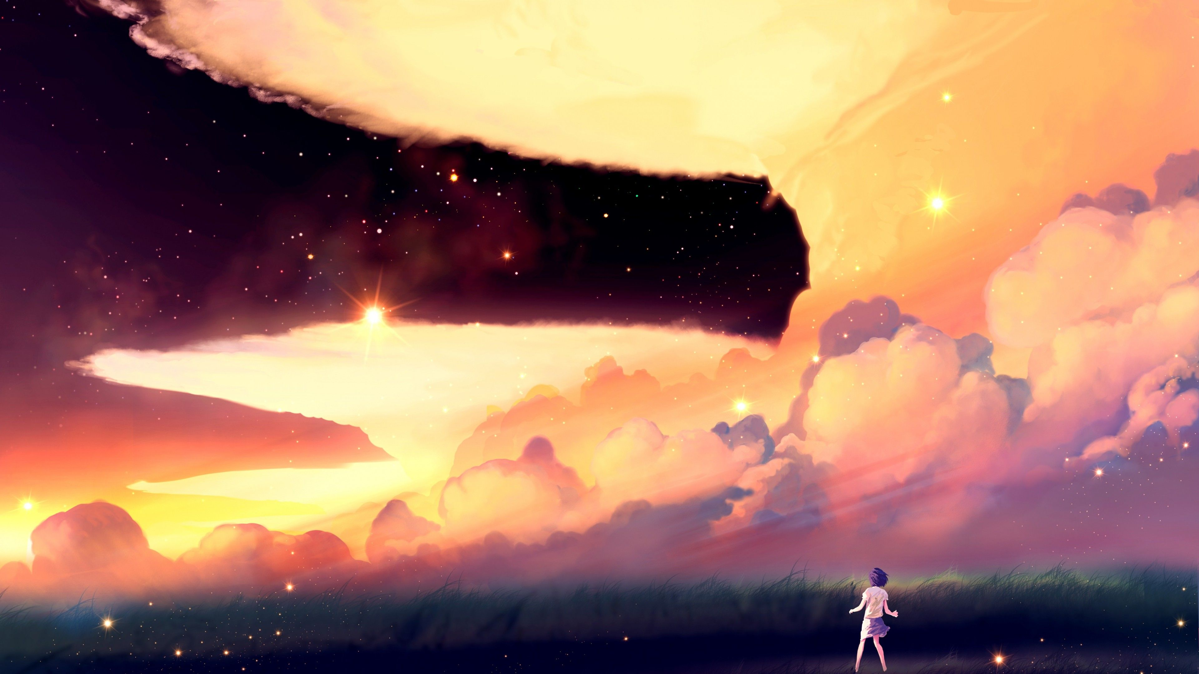 Anime 3840x2160 artwork clouds field sky stars anime