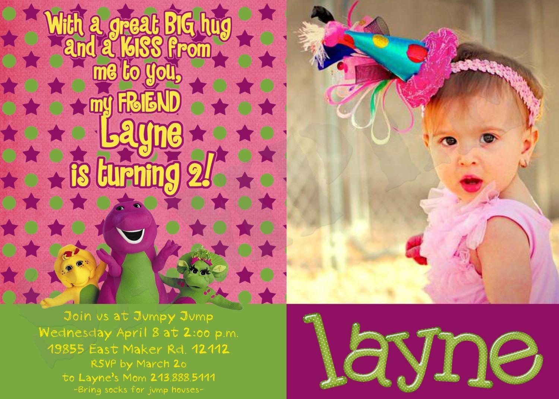 Barney Birthday Party Invitations Birthday Party Pinterest