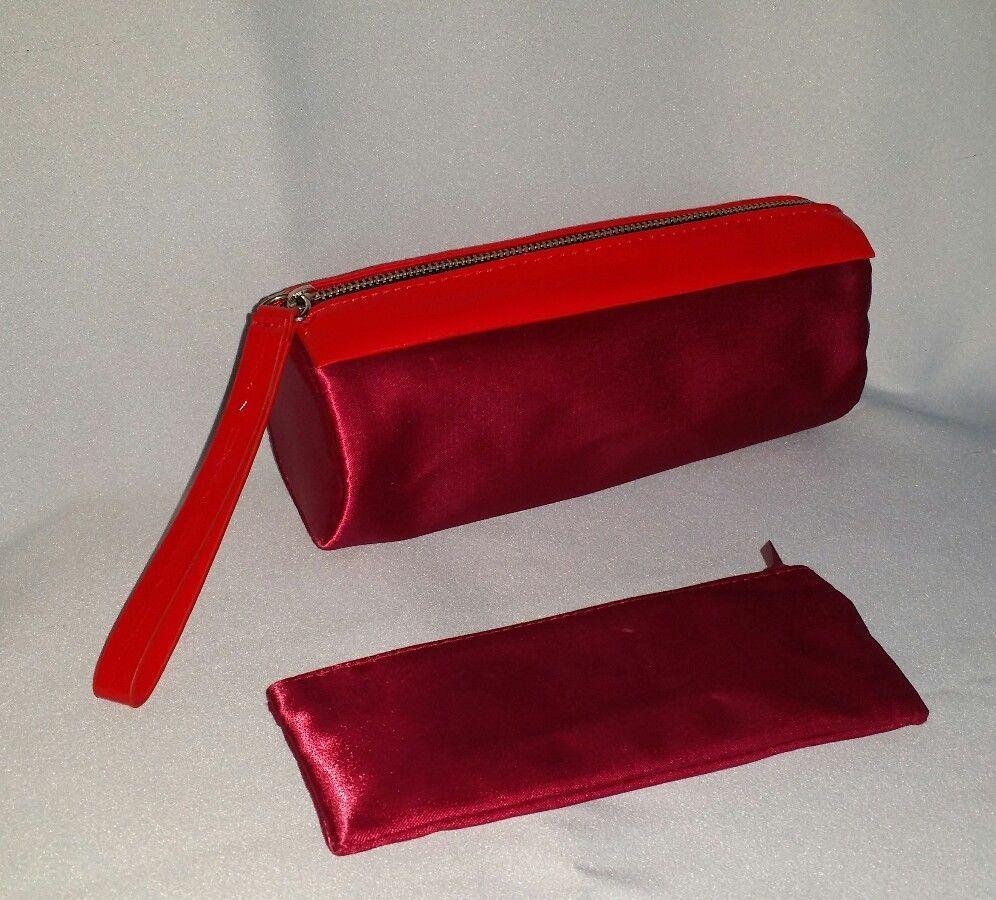 MAC Cosmetics Red Satin Makeup Brush Bag W/ Matching Pouch