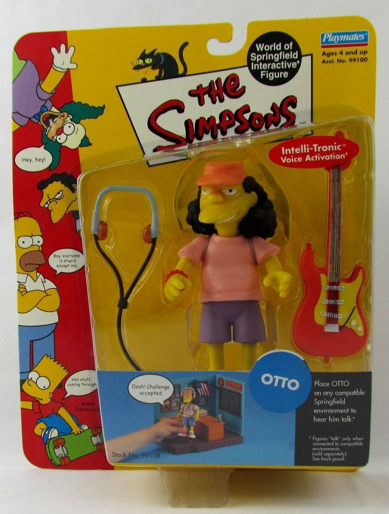 Simpsons Otto Bus Driver Action Figure WOS MOC Series 3 World of Springfield Toy