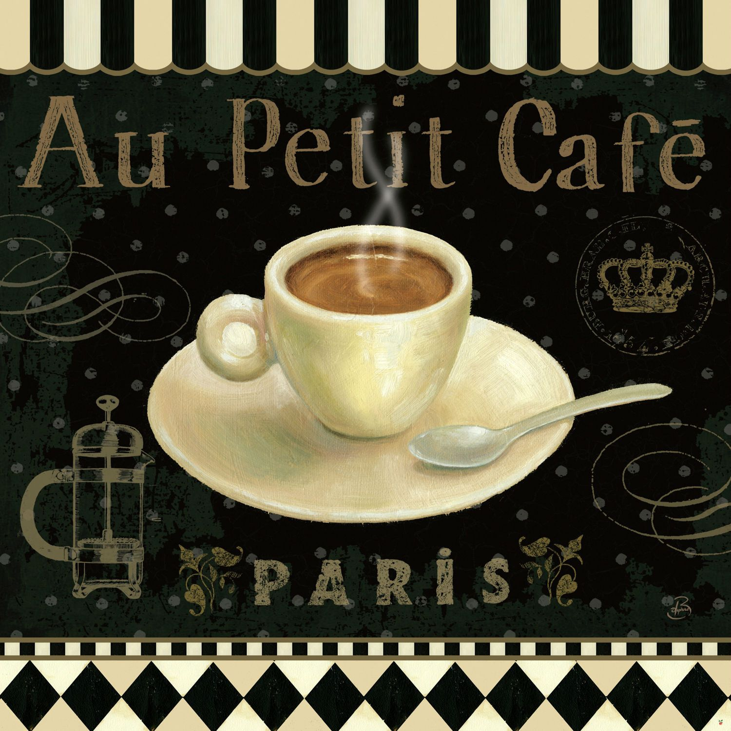 Cafe Parisien II by Daphne Brissonnet - canvas print | Coffeehouse ...