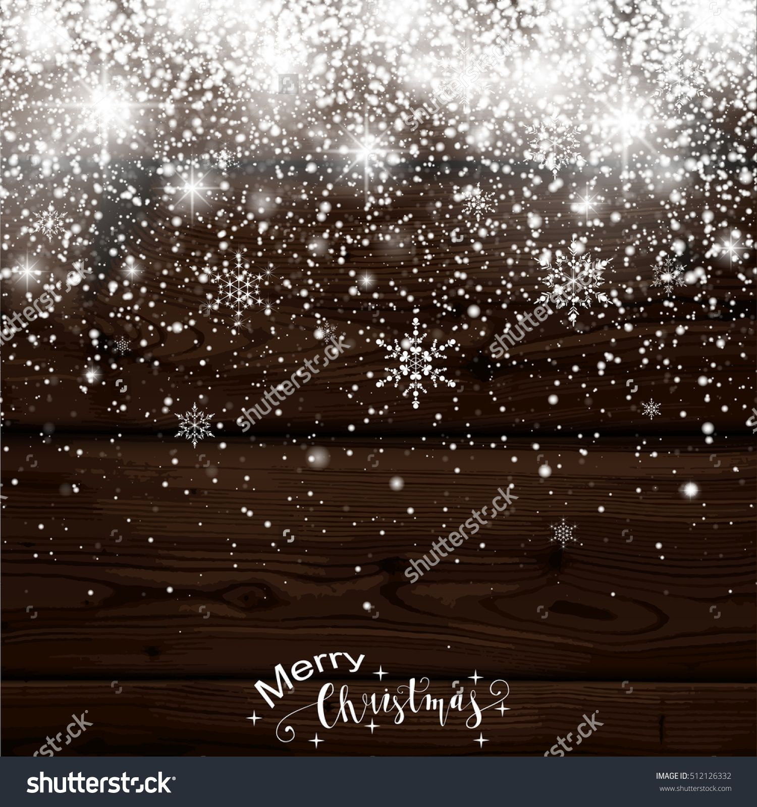 Christmas Snowfall. Falling Christmas sparkling transparent beautiful snow isolated on wooden background Lettering Merry Christmas. Snowflakes. Vector illustration