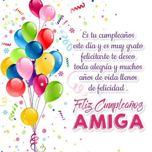 mensajes para cumpleaños para una amiga alegría cumpleaños Pinterest Friend birthday and