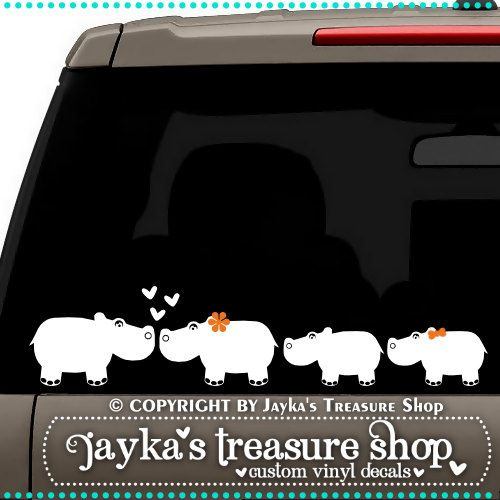 Hippopotamus Family 3.5 x 16 Car Decal by JaykasTreasureShop, $12.99