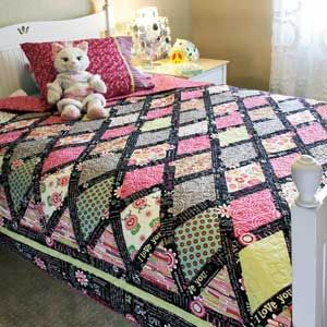 P S I Love You Colorful Diamonds Bed Size Quilt Pattern