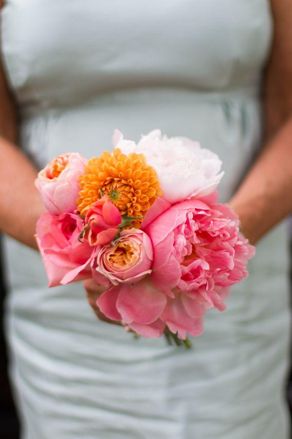 Bright pink peony bouquet {Photo by Kim Schepperley via Project Wedding}