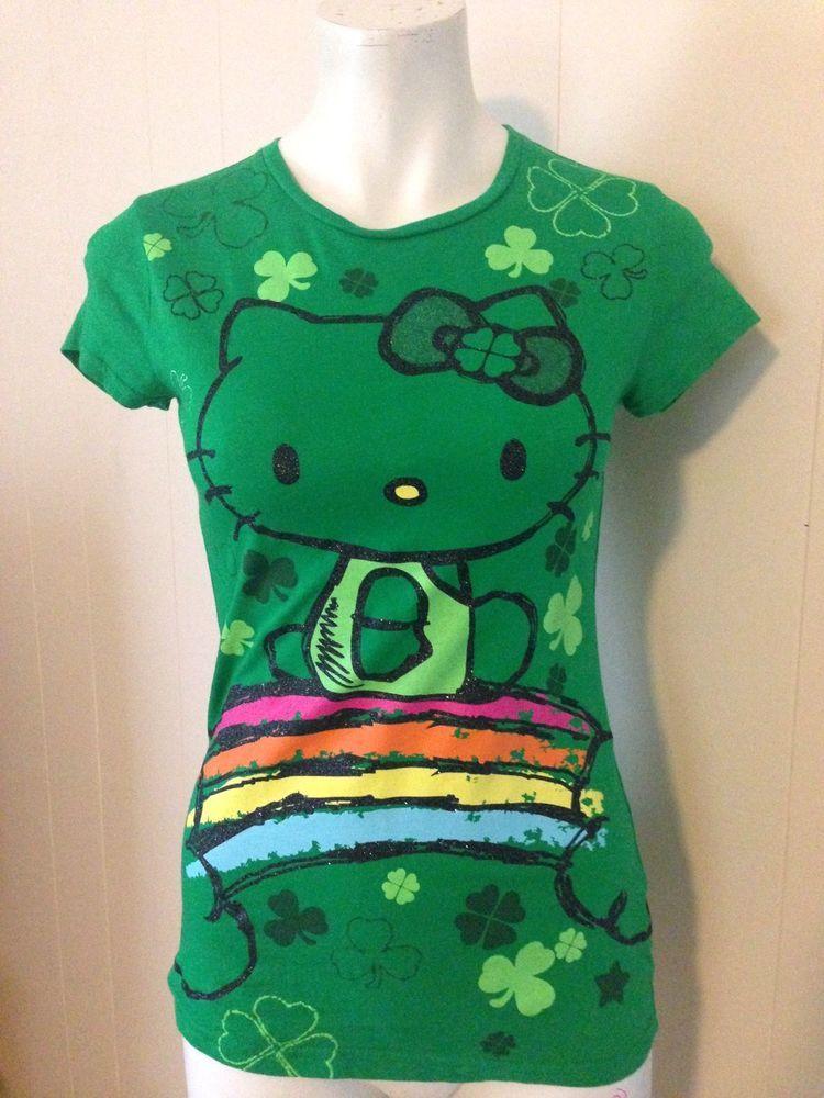 c97d7dc6e Girls Green HELLO KITTY 100% Cotton Short Sleeve T Shirt Size X Large 14 16  #HelloKitty #Everyday