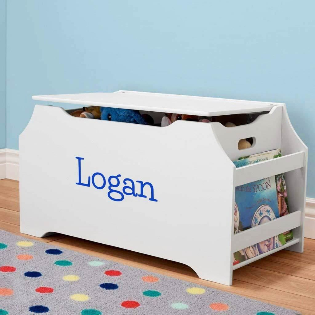 Personalized Dibsies Kids Toy Box With Book Storage White For Boys Kids Toy Boxes Toy Boxes Kids Toys