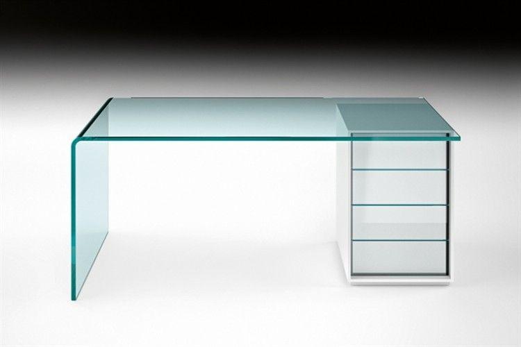 Glazendesigntafel.nl fiam glazen bureau glazen bureau in gebogen