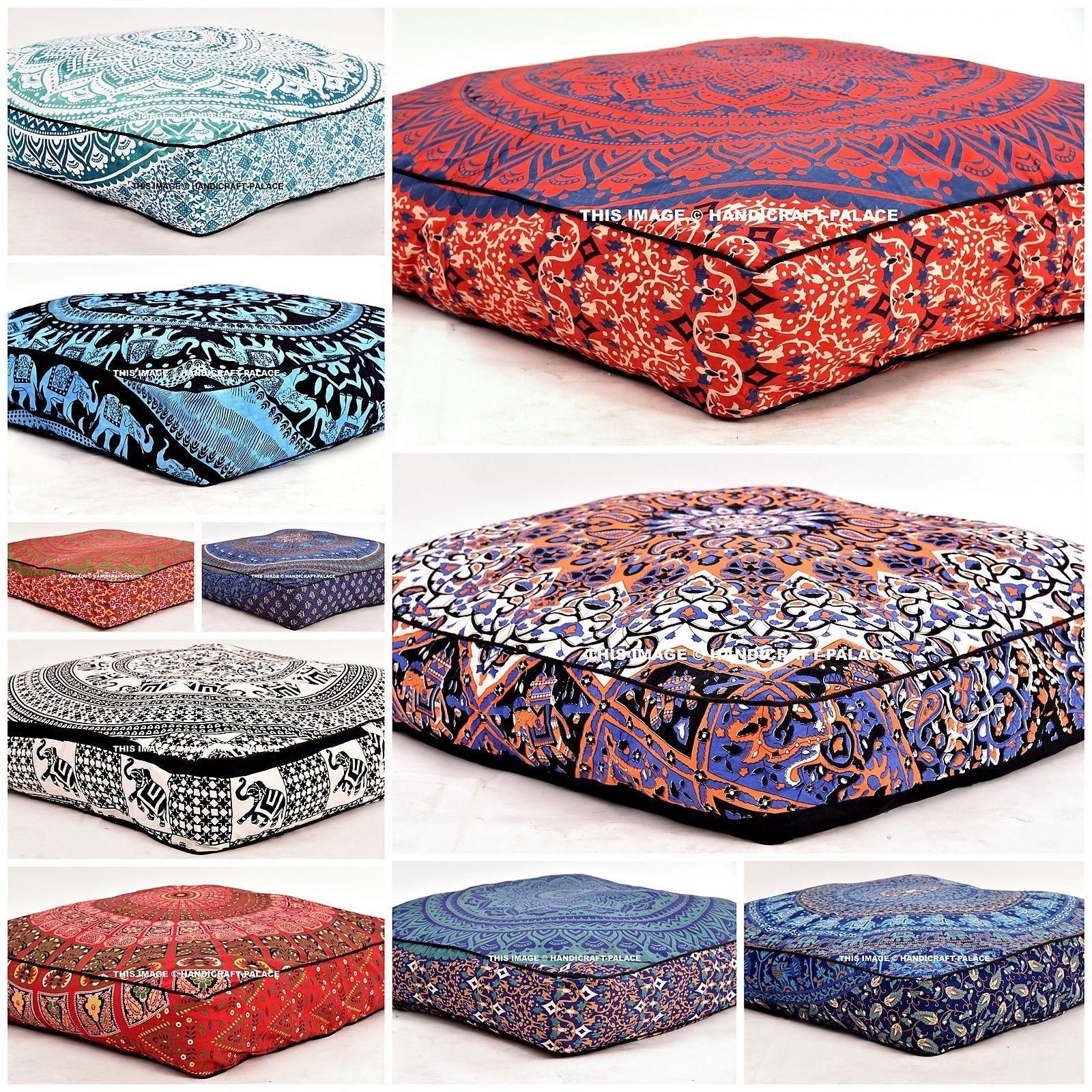 Large Indian Meditation Floor Pillow Cover 35 Mandala Ottoman Cushion Dog Bed Floor Pillows Large Floor Pillows Decorative Floor Cushions