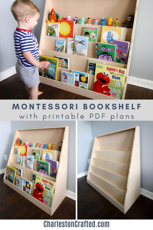 DIY Montessori front facing bookshelf Woodworking PDF Plans Printable