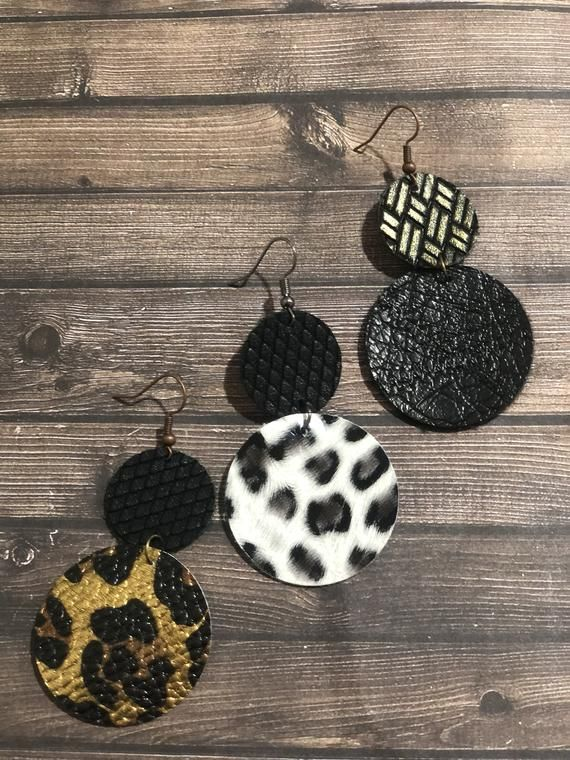 cheetah earrings leopard earrings Double Layer Leather Round Circle Hoop Earrings Gifts For Her Leopard Cheetah Matte Black