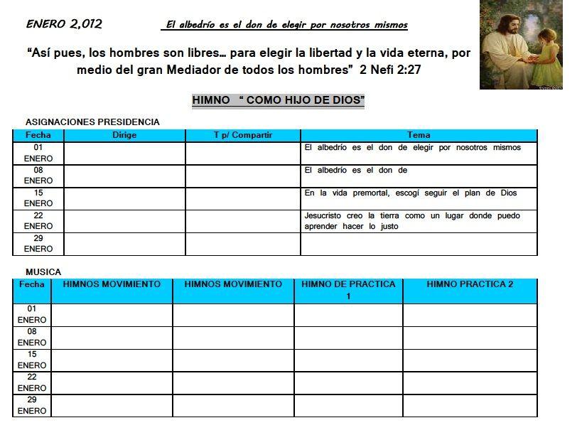 Holamormon2: AGENDA,MINUTA ANUAL PARA LAS LIDERES DE LA PRIMARIA 2012