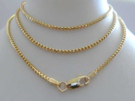 9ct Solid Yellow Gold Franco Chain Necklace, 1.5mm, 50cm's ...