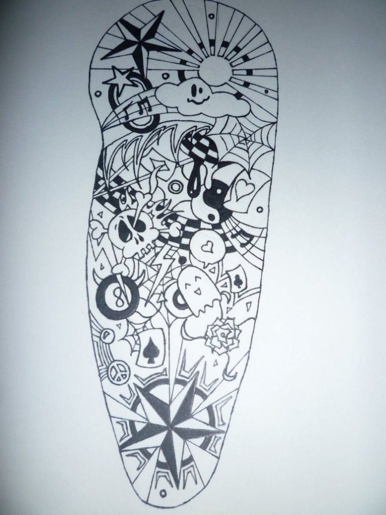 Half Sleeve Tattoo Stencils: Black And White Tattoo Drawings - Google Search