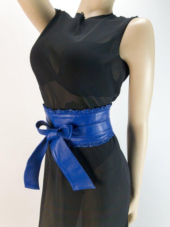 8e5ac02f6 Royal Blue Leather Obi Belt
