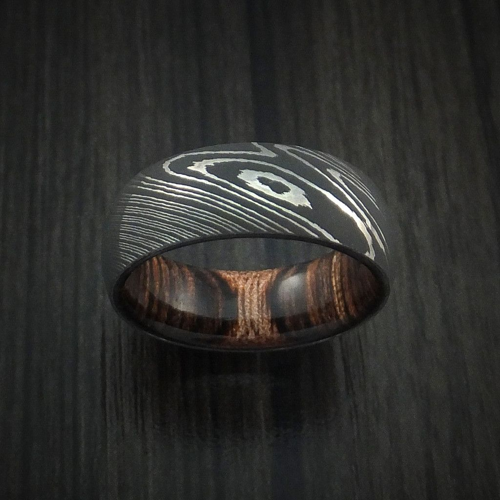 Damascus Steel Ring With Heritage Brown Hardwood Interior Sleeve Custom Made Male RingsMale Promise RingsRings For MenMale Wedding
