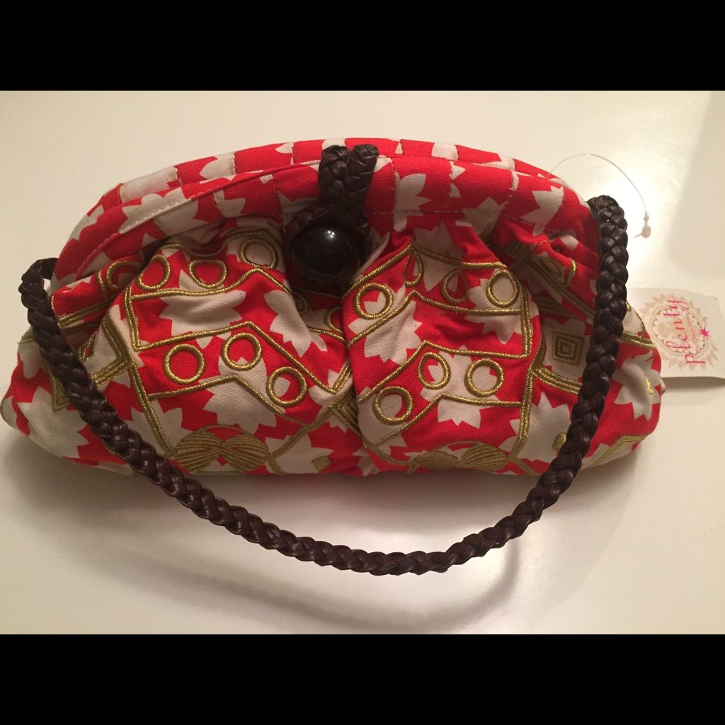 Anthropologie Tracy Reese Orange Floral Purse Nwt