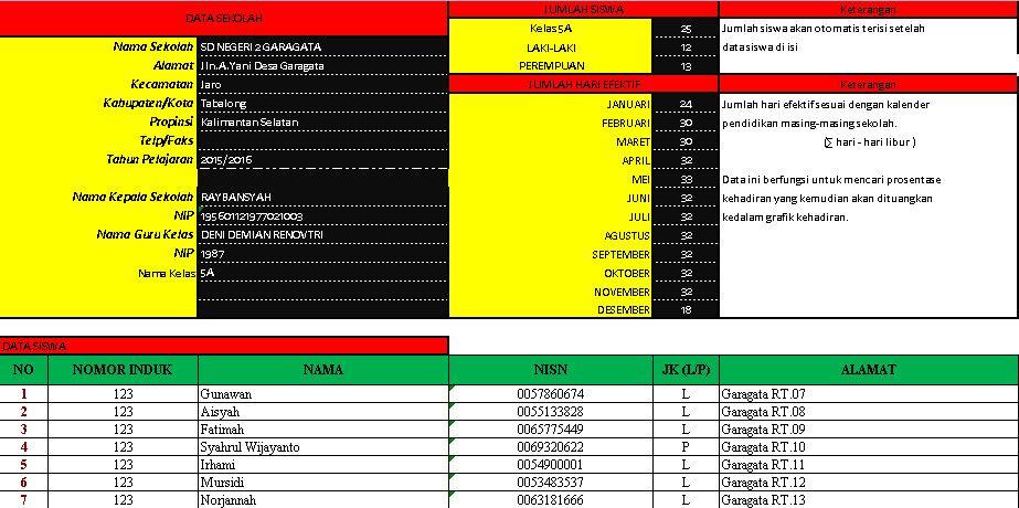 Xls Otomatis Software Absensi Versi 2 Aplikasi Excel Free Download Belajar Kepala Sekolah Sekolah