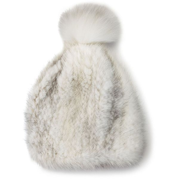 La Fiorentina Mink & Fox Fur Pompom Beanie Hat ($265) ❤ liked on Polyvore featuring accessories, hats, white, beanie hat, mink fur hat, white hat, pom pom hat and pompom hat
