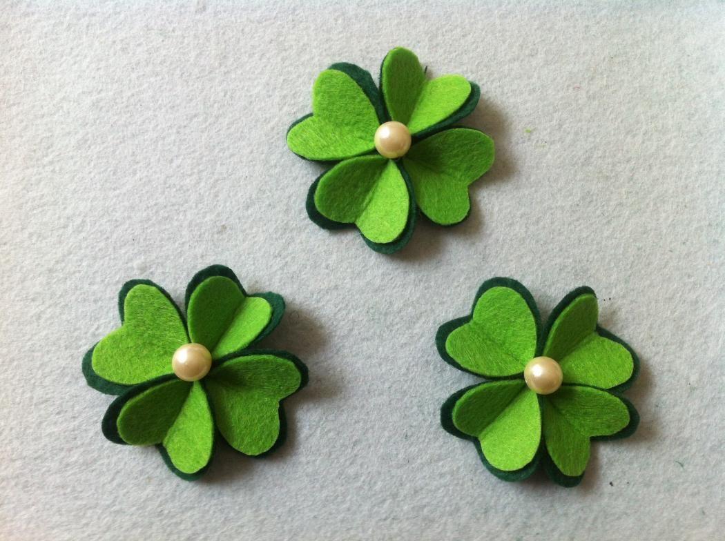 DIY St. Patrick\'s Day Layered Felt Four Leaf Clover Hair Clip | Leaf ...