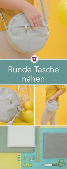 #RundeTascheRuby aus dem #DIYeuleBuch : kleine runde Handtasche mit Reißverschl…