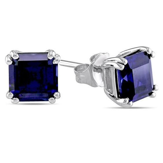 Zales 6.0mm Cushion-Cut Lab-Created Blue Sapphire Stud Earrings in 10K White Gold agG7Y