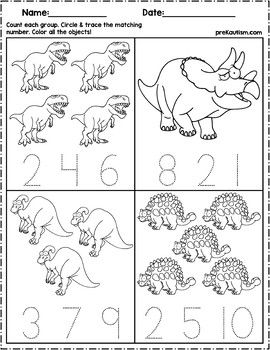 Dinosaur Count & Number Write #dinosaur