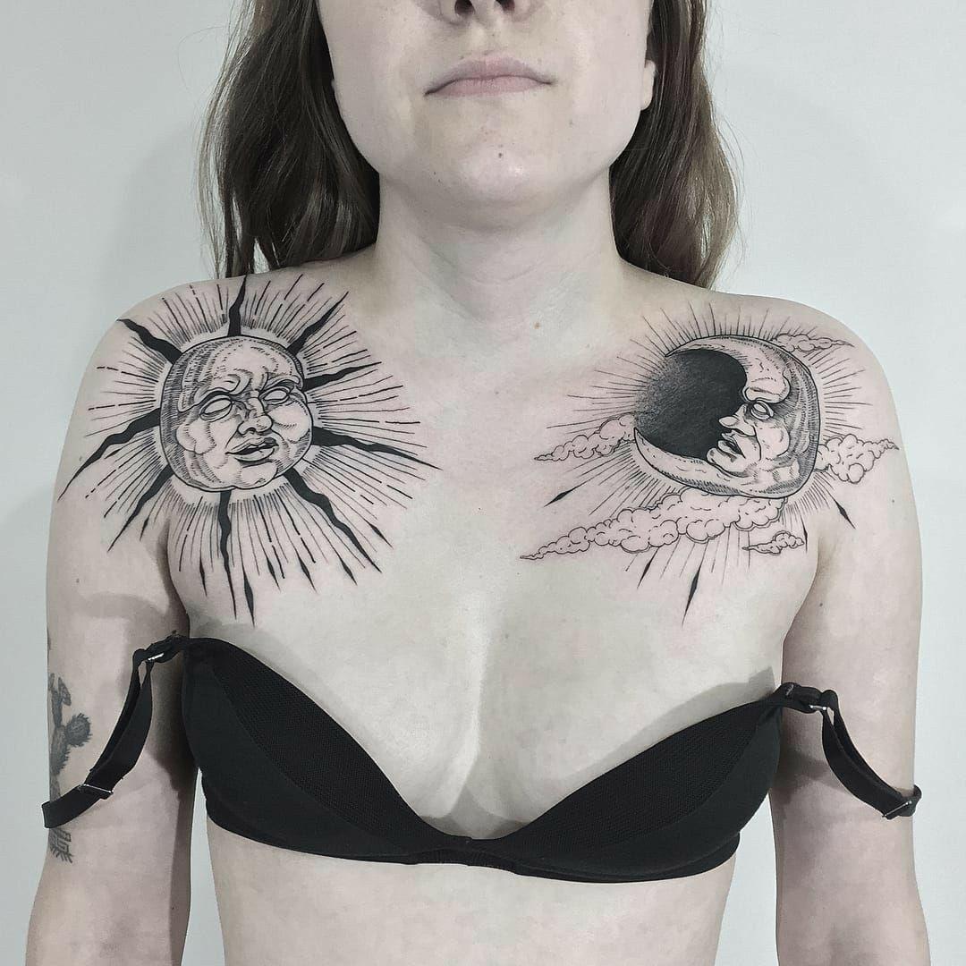 Pin By Win Thu On Tattoo Ideas Chest Piece Tattoos Moon Tattoo Sun Tattoos