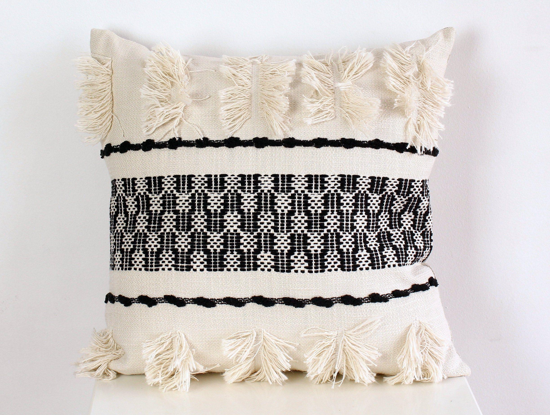 Tassel Cushion Bohemien Cushion Cream Cushion Woven Boho Cushion Filled Cushion Woven Cushion Cover