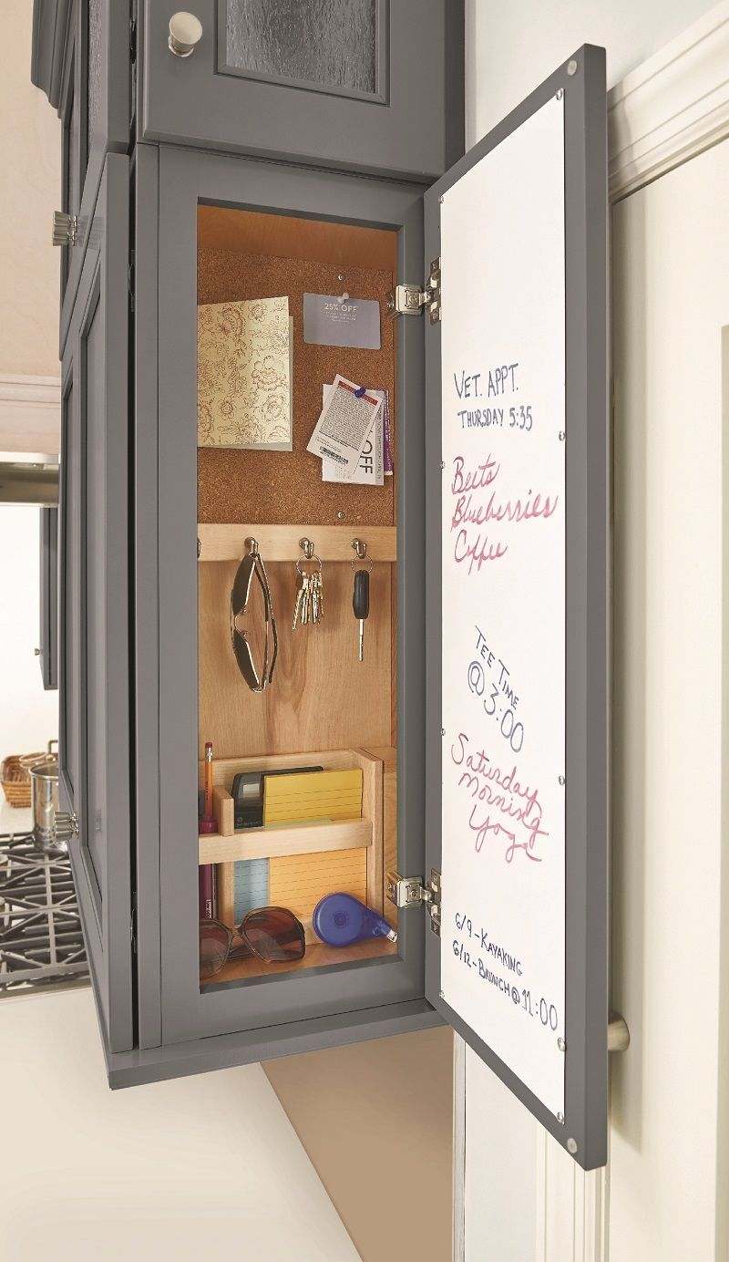Integrated Message Center Wall is part of Home Accessories Design Kitchen Cabinets - Includes Dry erase board, key hooks, cork board and Utensil organizer Message Center section is 6  wide (deep)