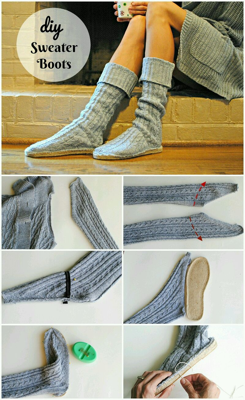 DIY Upcycled Sweater Boots is part of Upcycle Clothes Easy - As a mom and designer I'm on my feet for most the day and we just moved into our new home that has wood floors, including my studio  I was always wearing flip flops and now that it's getting cold I found myself putting on flip flops with socks   yikes  I saw these Dritz Espadrille Soles and had an idea to create a  house boot  I could wear around the house that still had a comfortable sole but a sock like cover on top  Almost like an Ugg boot but not so heavy and ecofriendly! I dug through my pile of giveaway clothes and came across this old sweater my boys had out grown  It had a raglan sleeve that when cut was the perfect boot shape  It also happened to fit perfectly around the size 8 sole  You can also use these espadrille soles to make flats, slippers, moccasins, and sherpa boots  They also have them in toddler sizes so I'm going to have to make some for Louie's Booties one of these days  Get the details below to make your own upcycled sweater boots  Supplies The soles run a bit larger so I went a size down  Dritz Espadrille Soles purchase here  Old Sweater Elastic Needles Yarn Remove the sleeve of the sweater When cutting include the seam allowance  This will keep the sweater from unraveling  Cut a strip of elastic that measures the curve of your foot minus 1  (the red dashed line)  Sew (zig zag stitch) the elastic on the wrong side where it starts to curve  As you sew, pull the elastic to fit from one side to the other  You want this to be snug but not uncomfortable  This will keep the boot from sliding when you walk  Stretch the bottom of the sweater out to fit the sole  Pin the sweater onto the sole  I pinned the back (where the seam was), the front mid point, and sides  Then added the pins around those points  The pins stick right into the sole  Use yarn and a blanket stitch to attach around the edges  Start from the outer mid sole going to the heel, and continue to wrap around to where you started  The package also comes with thorough instructions to make a pair of espadrille flats  I've been wearing these for days and call them my  Studio Boots   I can't wait to make a few more looks with these like the ones below click on photo for tutorial  In collaboration with Dritz  I received compensation from Dritz®, and some of the materials featured here or used in this project were provided free of charge by Dritz®  All opinions are my own  SaveSaveSaveSave