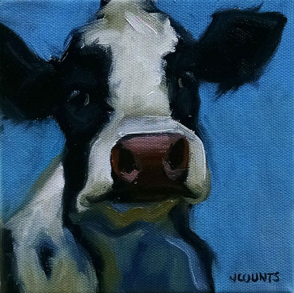 "KYLE BUCKLAND JENN COUNTS FARM ART  COW CATTLE   ANIMAL OIL PAINTING A DAY Impressionism FINE ART WALL ART HOME OFFICE KITCHEN CABIN RESTAURANT DECOR ""Bluebell"" 6""x6"""