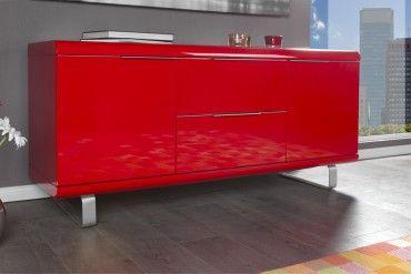 Design Sideboard Rio Hochglanz Lack Rot Kommode 2 Schubladen 2 Turen