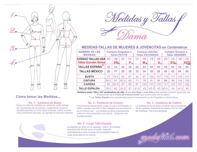 Descarga ya el PDF con los cuadros de Medidas y Tallas para mujeres ...