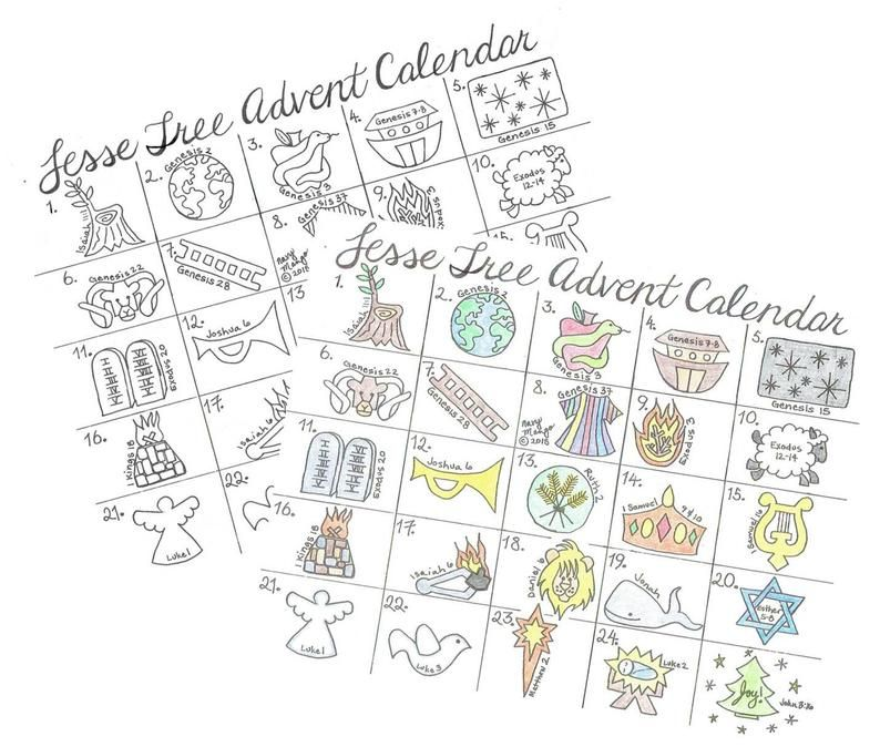 Printable Jesse Tree Advent Calendar for Christmas in 2020