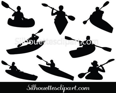 Kayaking Silhouette Vector