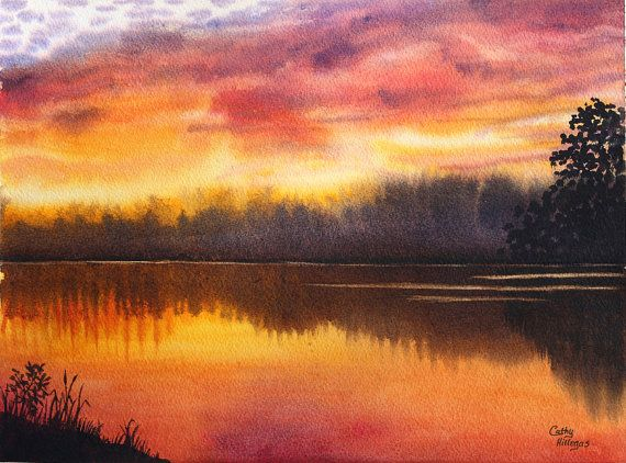 Sunset Lake Original Watercolor Painting By Cathy CathyHillegas 4900
