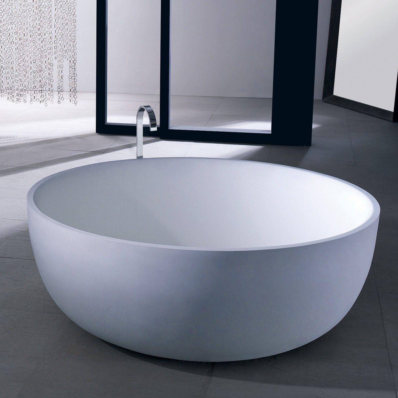 53 Suki Round Resin Freestanding Tub Bathtubs Bathroom Free Standing Tub Free Standing Bath Tub Bathtub