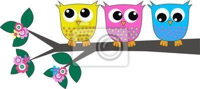 Vinilo Pixerstick Tres búhos lindos • Pixers® - Vivimos para cambiar #cucowallpaper Vinilo amarillo, azul, rosa, cuco, grupo, tapadera, envoltorio, colores, colours, colours. #cucowallpaper