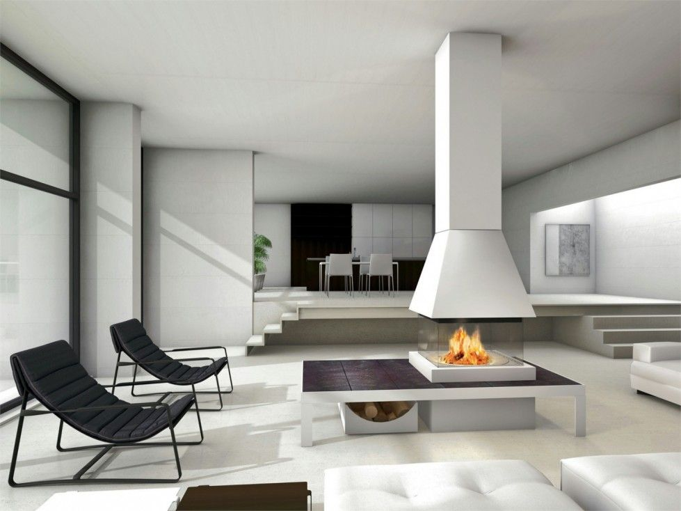 Awesome modern fireplace in the middle of the living room - Modern fireplace living room design ...