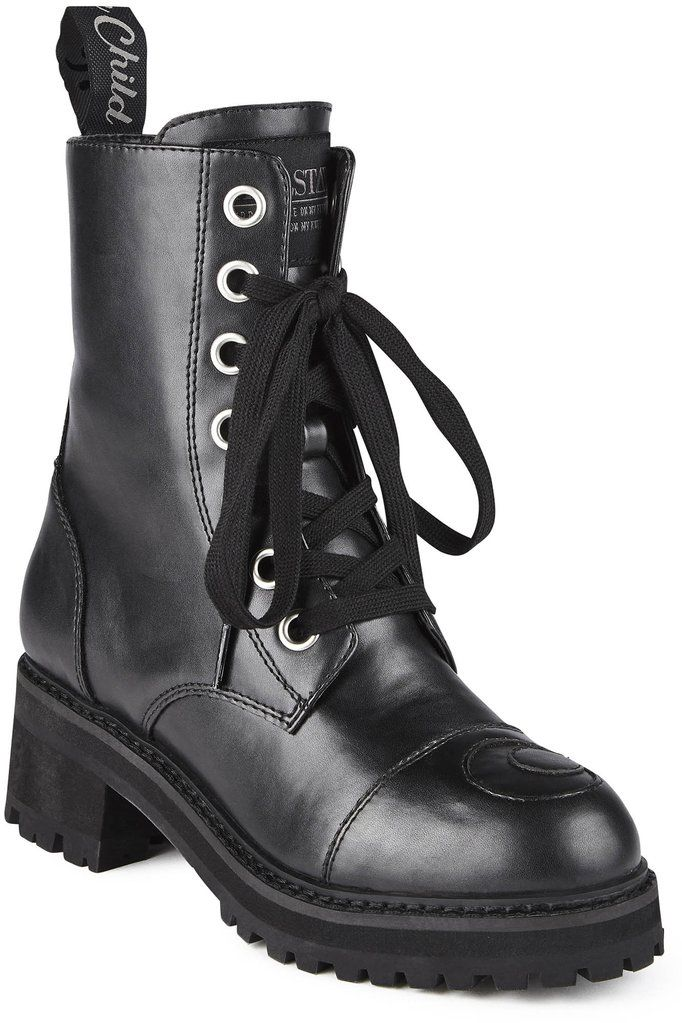 KILLSTAR Not Phased Combat Boots [B] is part of Clothes Hipster Combat Boots - off and slightly elevated with a 2  heel  Has a beautiful blackonblack cutout moon feature on each  Match with anything  you make the rules in these; plus they're super comfortable  with KILLSTAR Branding