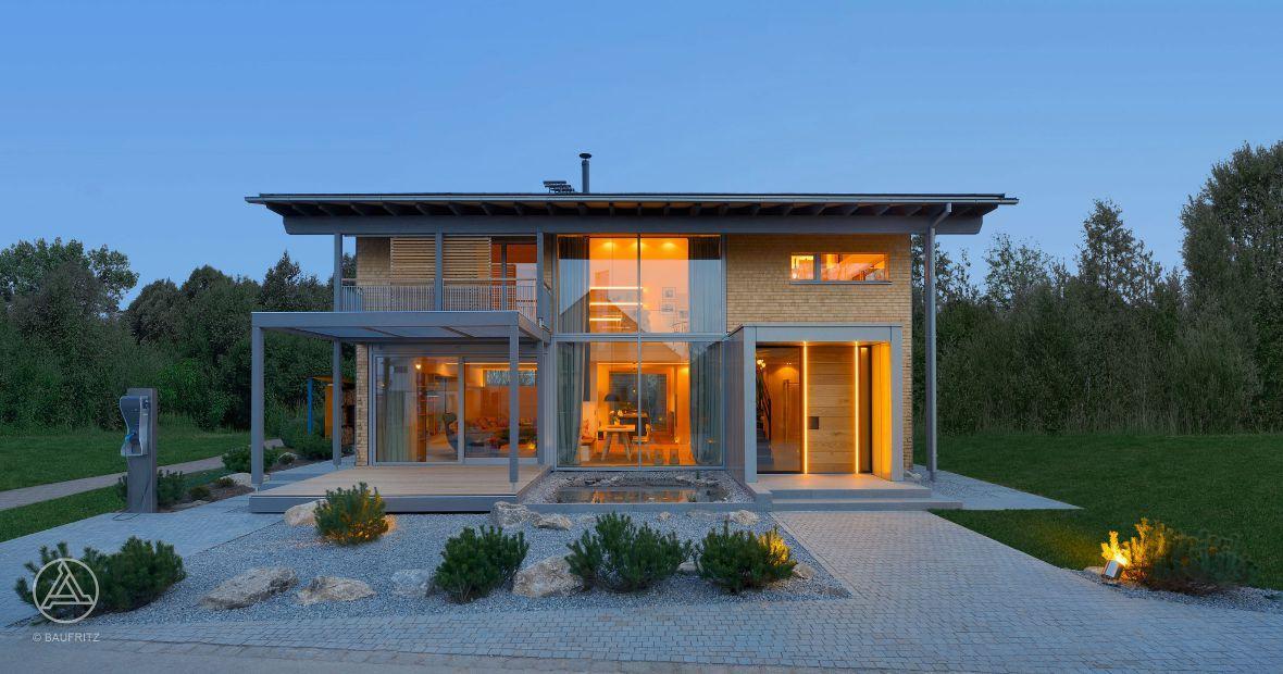 Elegantes flachdachhaus mit veranda #traumhaus #haustypen