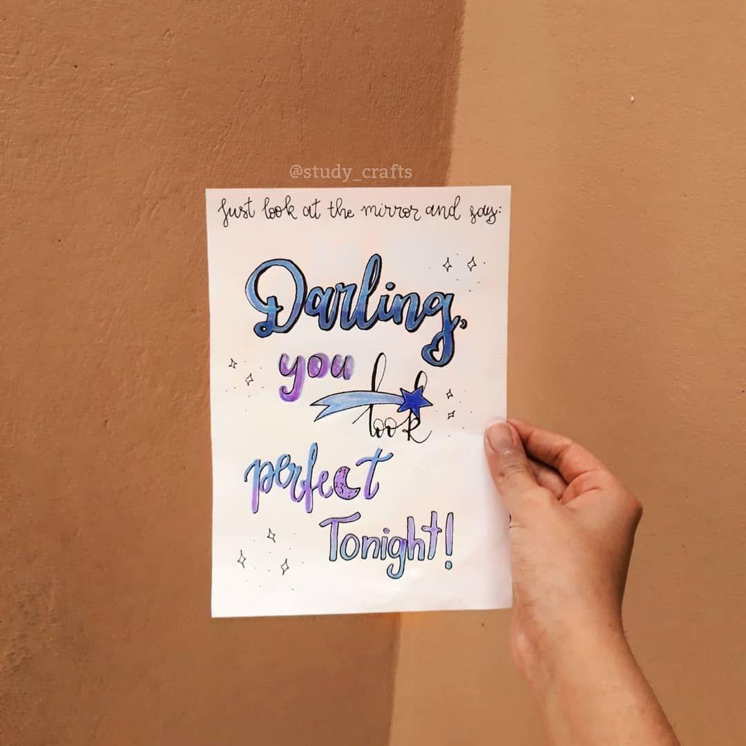 Desafio De Lettering Da Kitsunestudies Darling You Look Perfect Tonight Ooi Gente Hoje Trouxe Uma Frase Da Música Study Craft Book Cover Sayings
