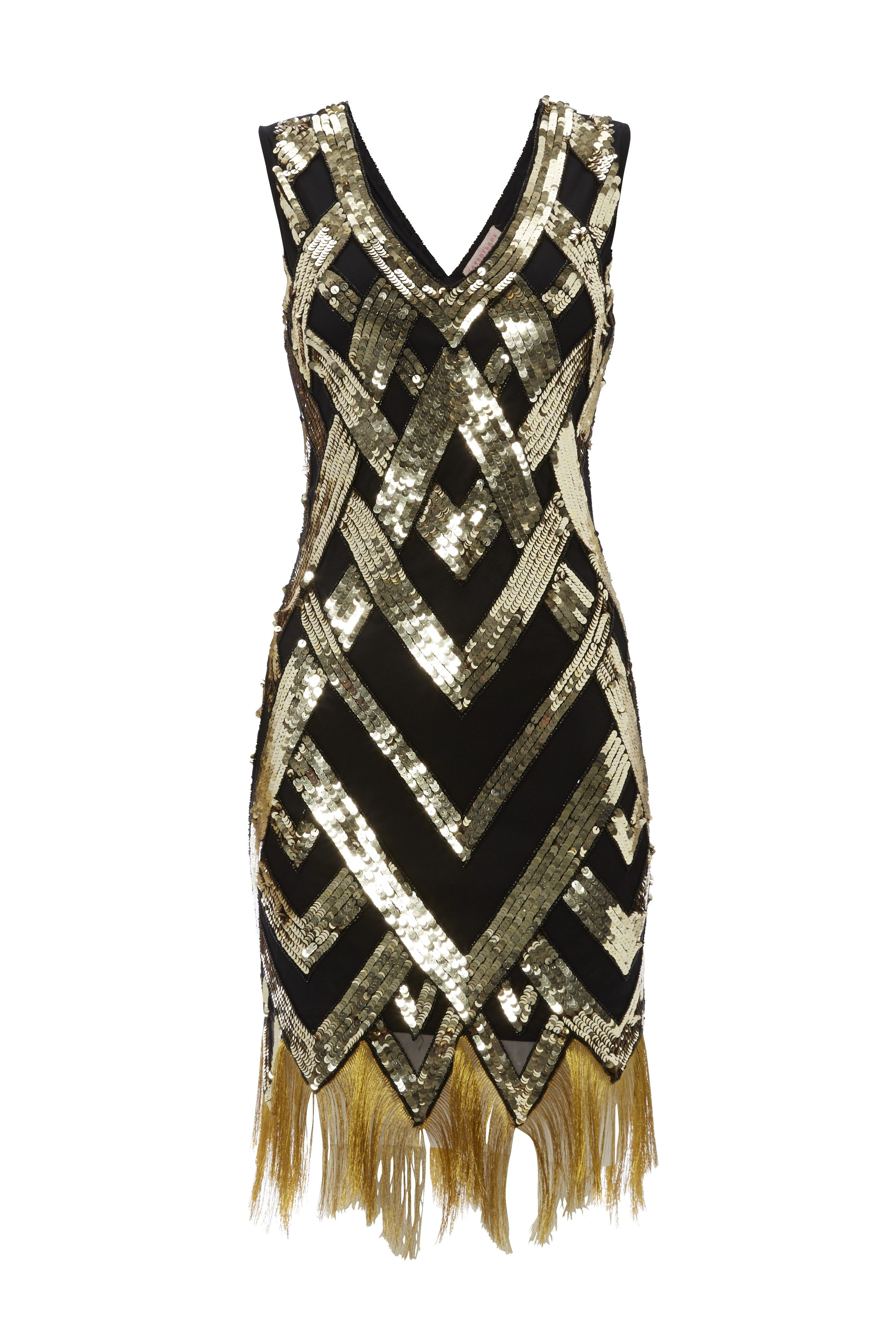 Black Gold Vintage Inspired 1920s Vibe Flapper Great Gatsby Beaded