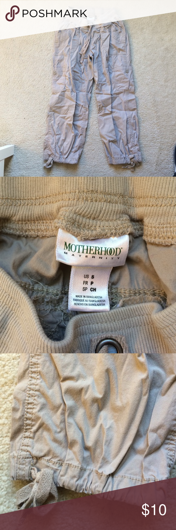 Maternity khaki Capri pants Lots of pockets! Ties at bottom of each pant leg. Motherhood Maternity Pants Capris