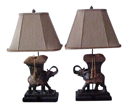 Frederick Cooper Bronze Elephant Lamps A Pair On Chairish Com Elephant Lamp Lamp Elephant Lamp Base