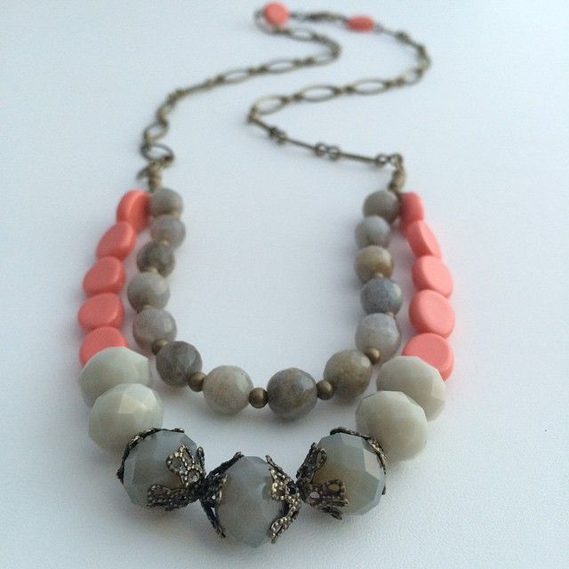 """""""Coral and Grey necklace 