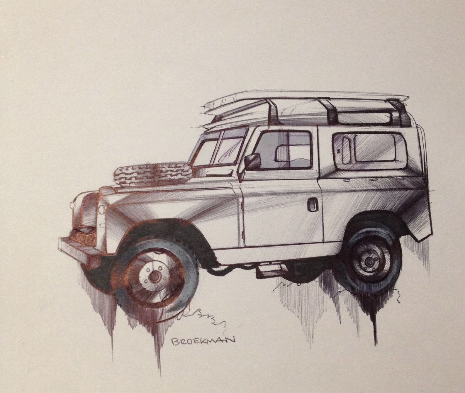 Broekman Original Pen and Marker Drawing Land Rover 88 Series I 4x4